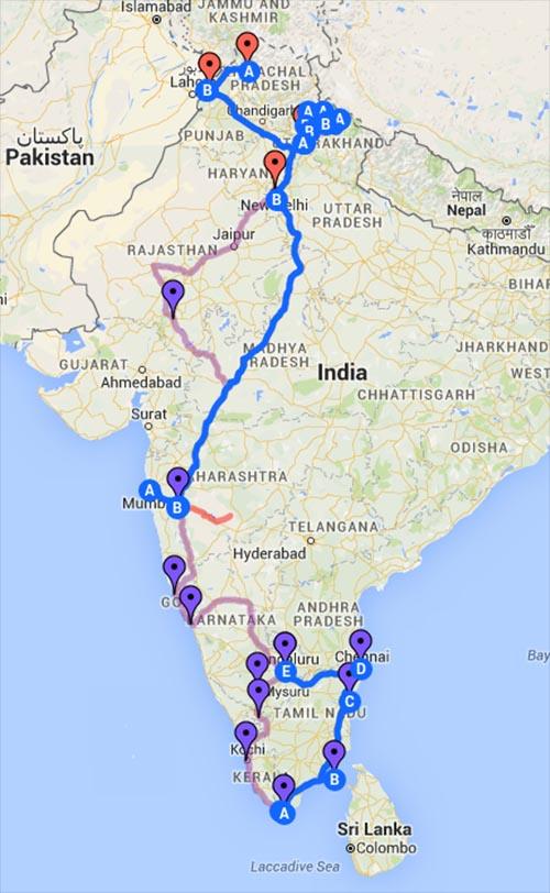 Route Indien