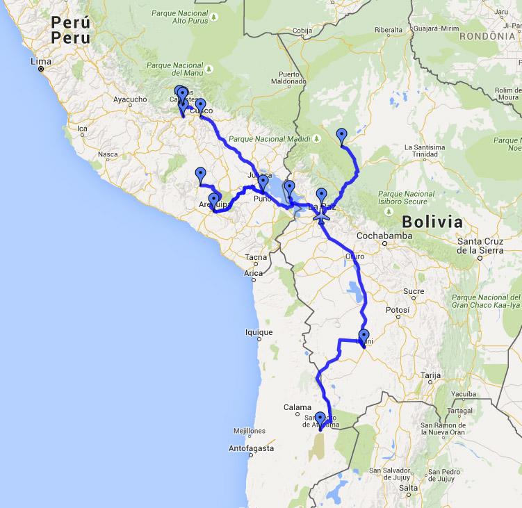 Route Peru Bolivien