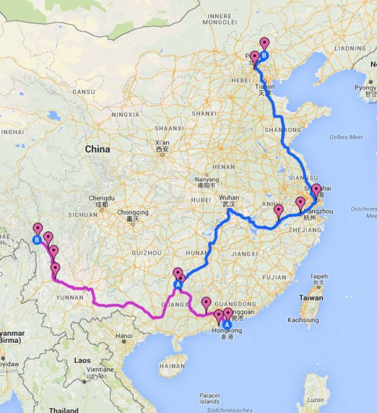 Reiseroute China