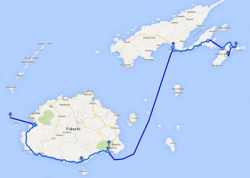 Reiseroute Fidschi