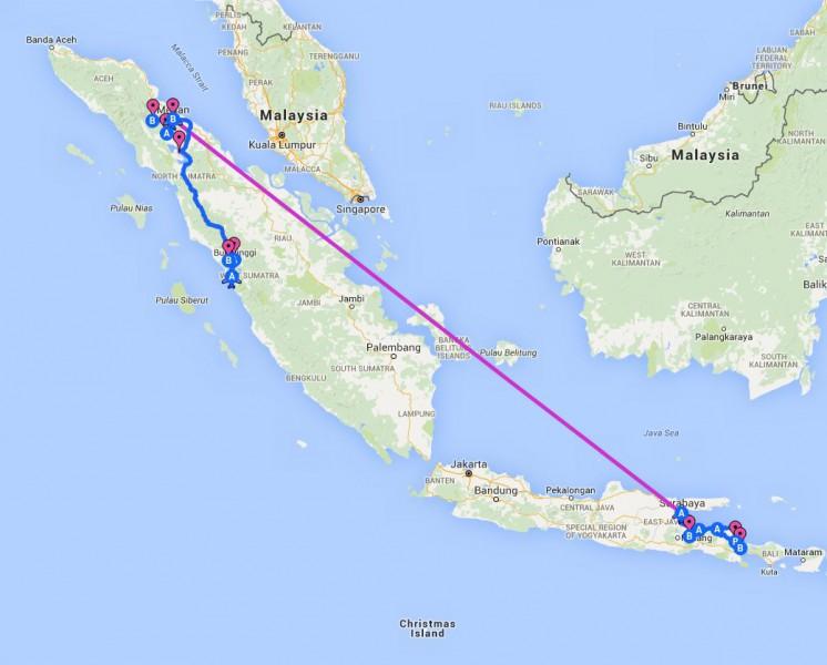 Reiseroute Indonesien 2010